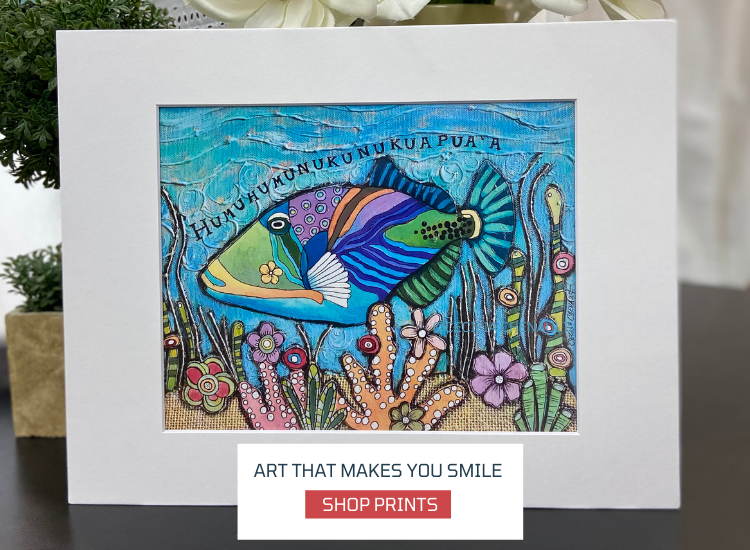 "print Humuhumunukunukuapua Fish, Size 11"" x14"", matted in white, collage art by Cecilia Chenault"