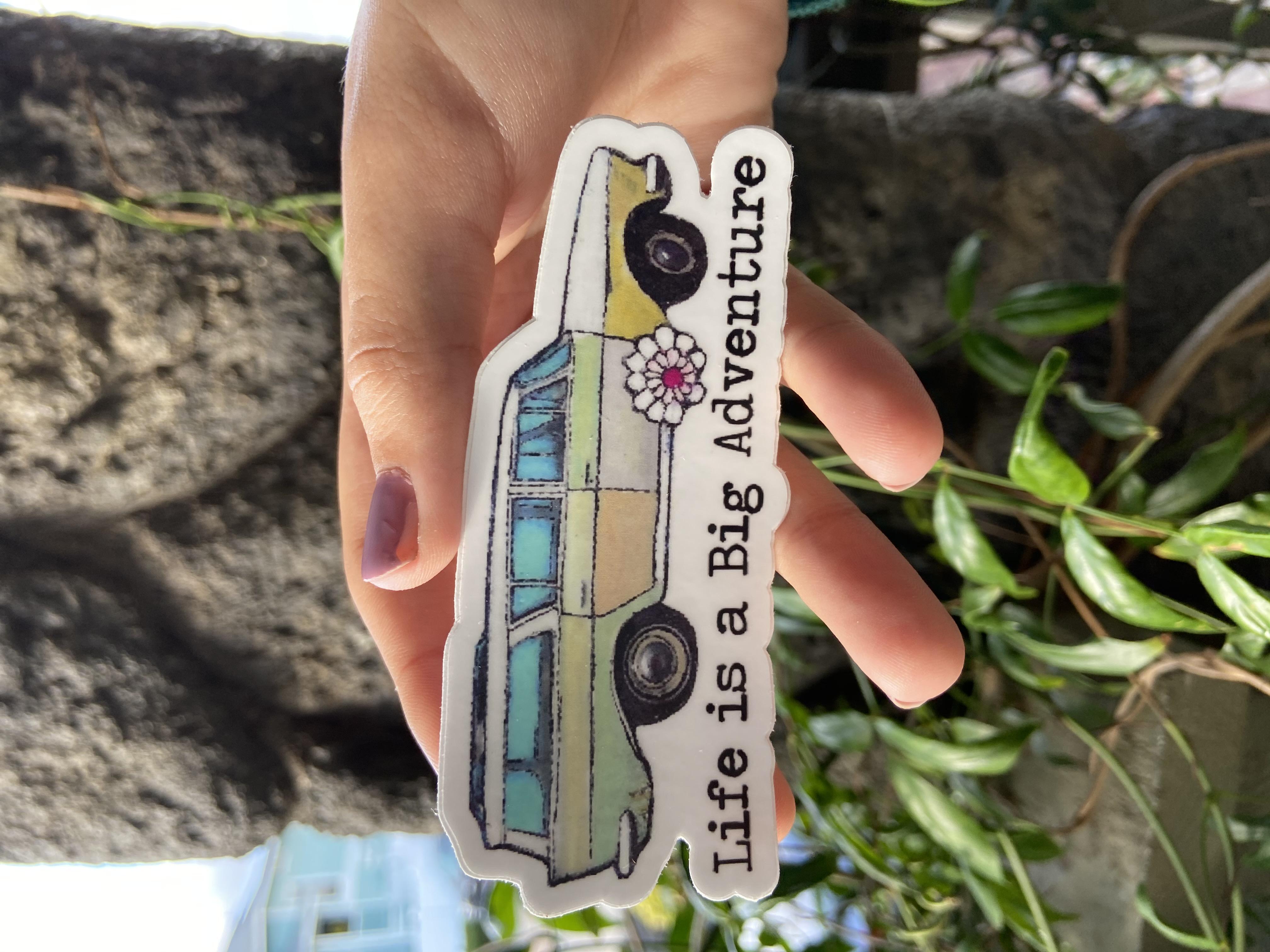 sticker station wagon, beach vehicle, adventure sticker, vinyl sticker waterproof