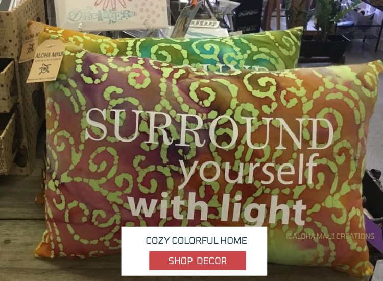 pillows, colorful tropical prints, neck pillows with messages