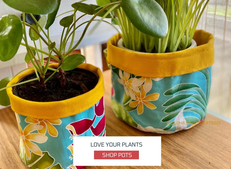 Plant Pots, reversible cotton fabric canvas, tropical print