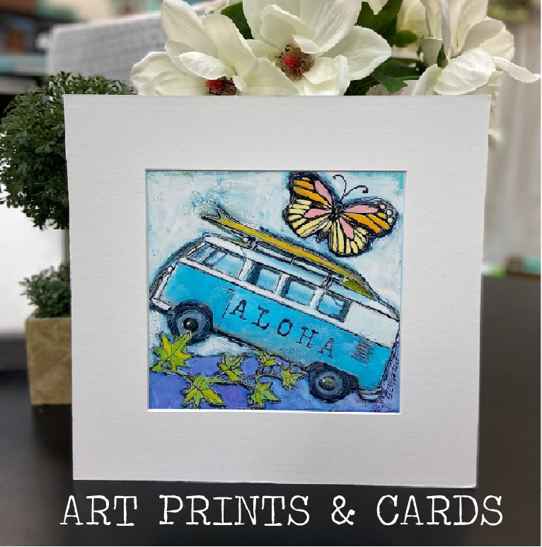 art collage prints tropical whimsical art cecilia ann chenault aloha maui creations