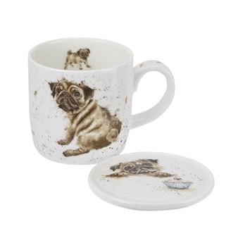 Royal Worcester Wrendale Designs Pug Love (Dog) Mug & Coaster Set