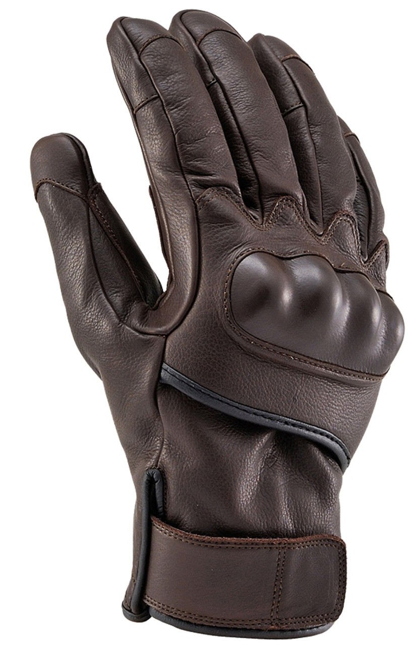 Henly Begins HBG-022 Cowhide, PRT Short Motorcycle Gloves, Brown
