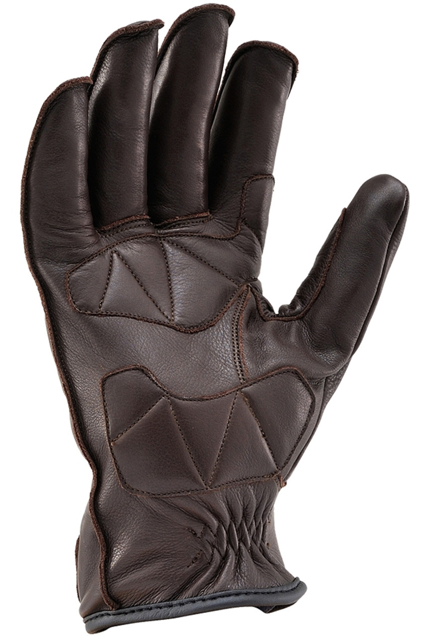 Henly Begins HBG-023 Cowhide, Outer Stitch Short Motorcycle Gloves, Brown