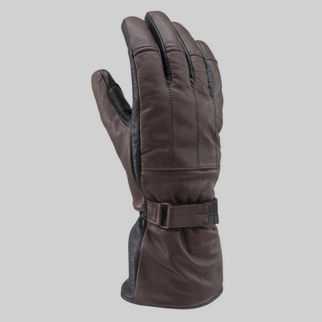 Henly Begins DH-614 Long Leather Motorcycle Gloves, Brown/Black