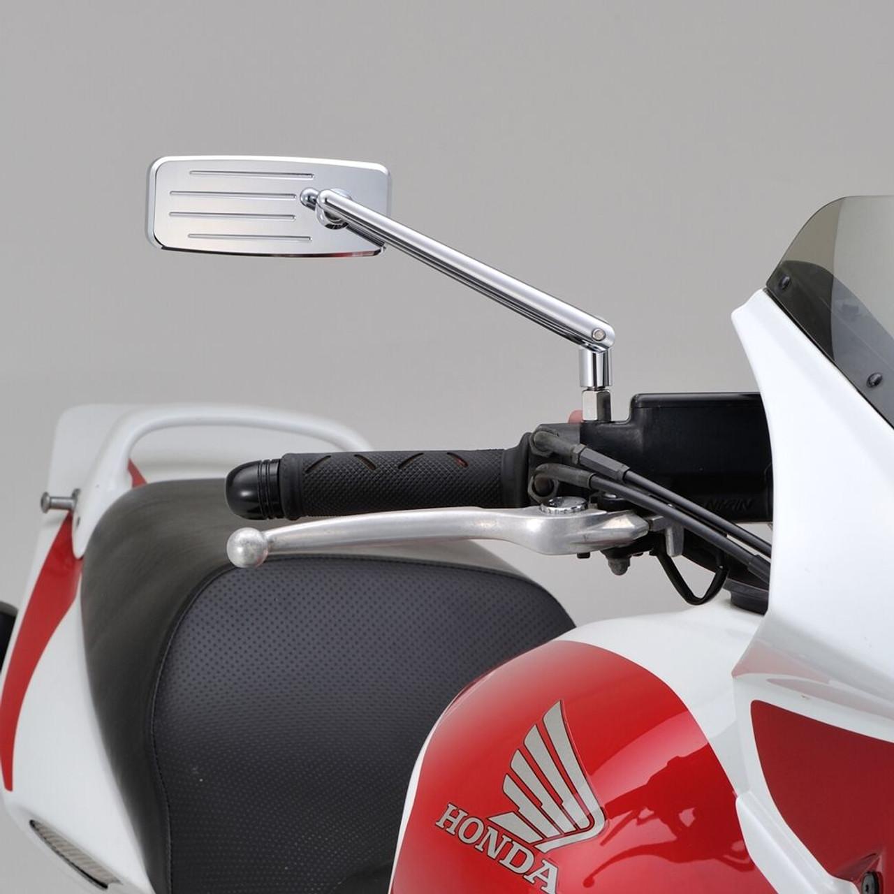 Daytona Highsider Motorcycle Rod Mirror Action, Chrome Finish, M10 x P1.25, 1pc