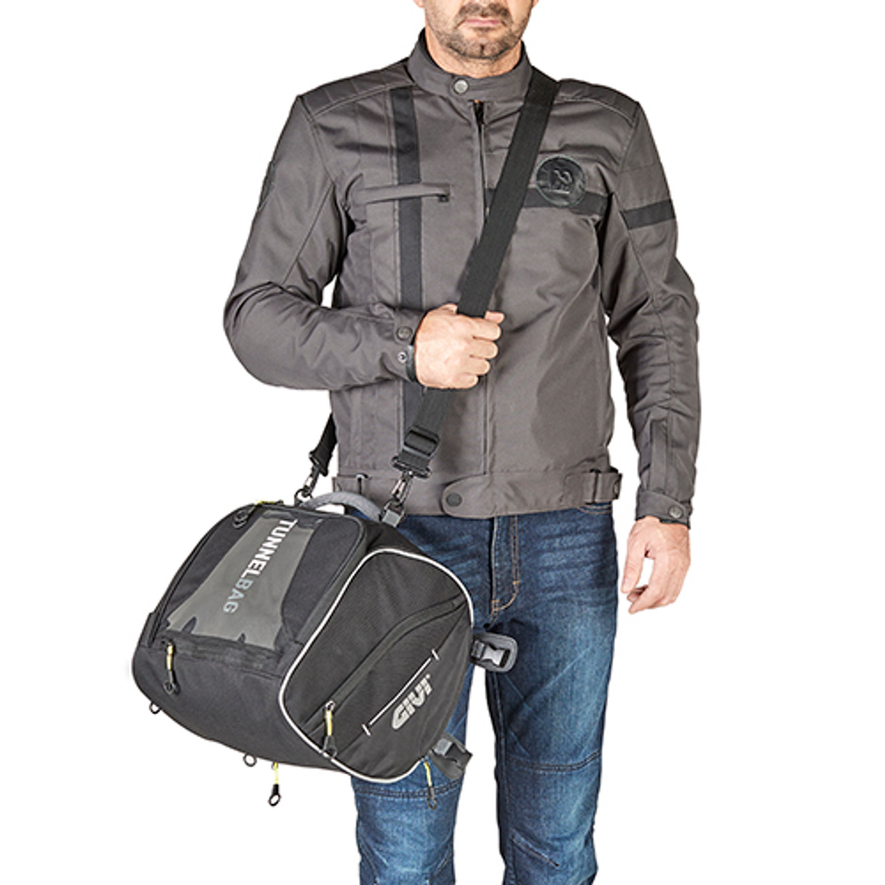 Givi EA122 Seat/Tunnel Motorcycle Bag 23 Litre , Black, Fitting Straps and Rain Cover Included