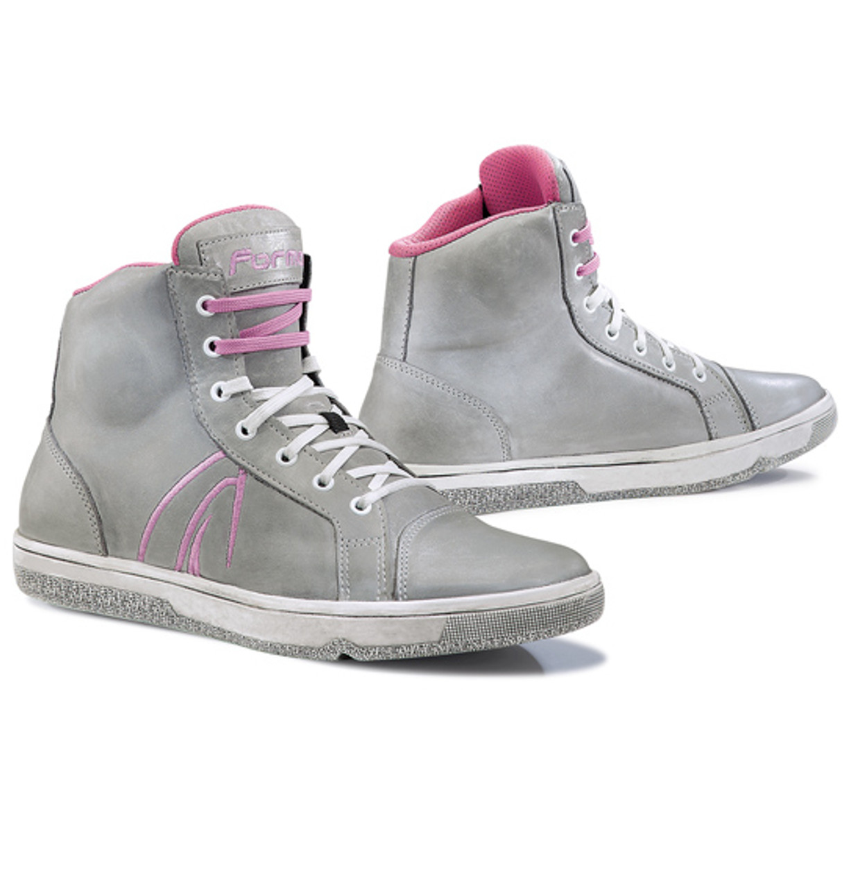 Forma Slam Dry Motorcycle Ladies Shoes Boots, Ladies, Grey Pink, Full Grain Leather Upper - CLEARANCE CLOSEOUT SALE