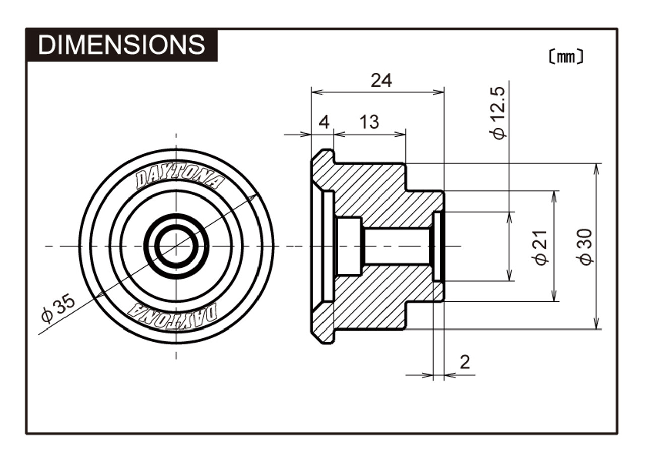 "Daytona Bar End Mirror Adaptor,  ""D-Mirror"" Bar End, For Yamaha-2,  FZ1/FZ8, Black"