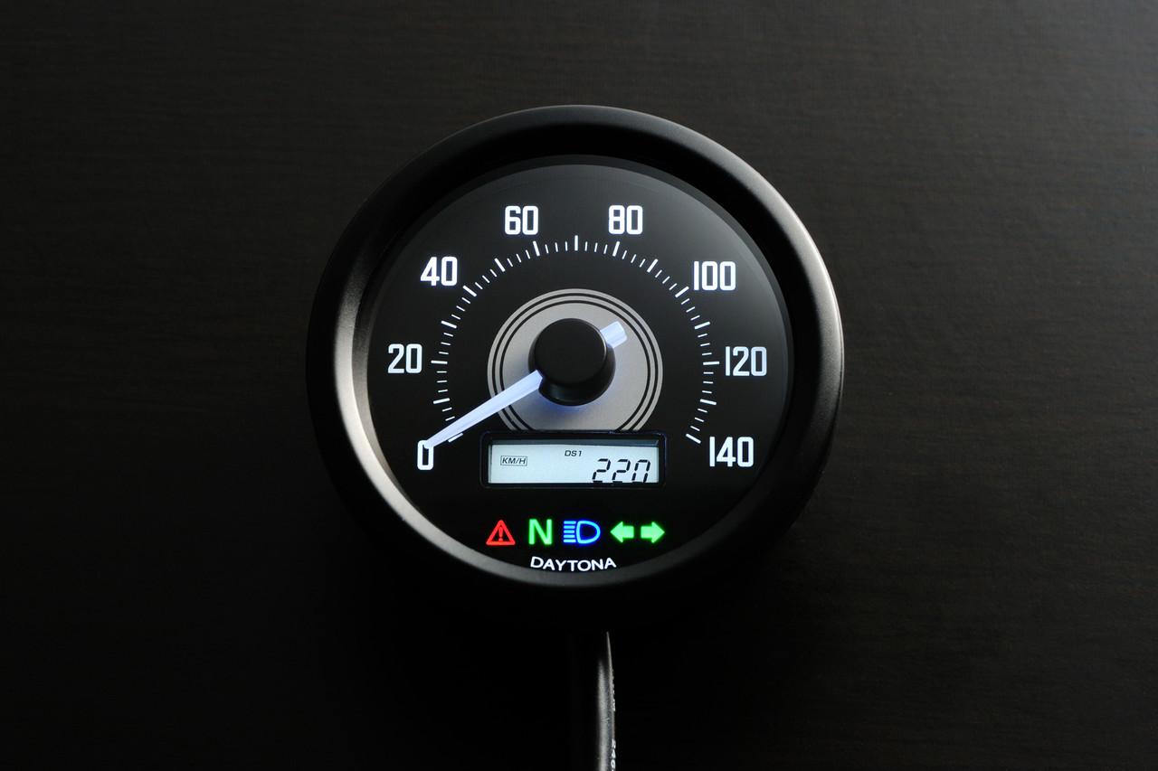 Velona 60 Speedometer with Indicator, 60mm, 140kph, Black, White LED, White Backlit of LCD window