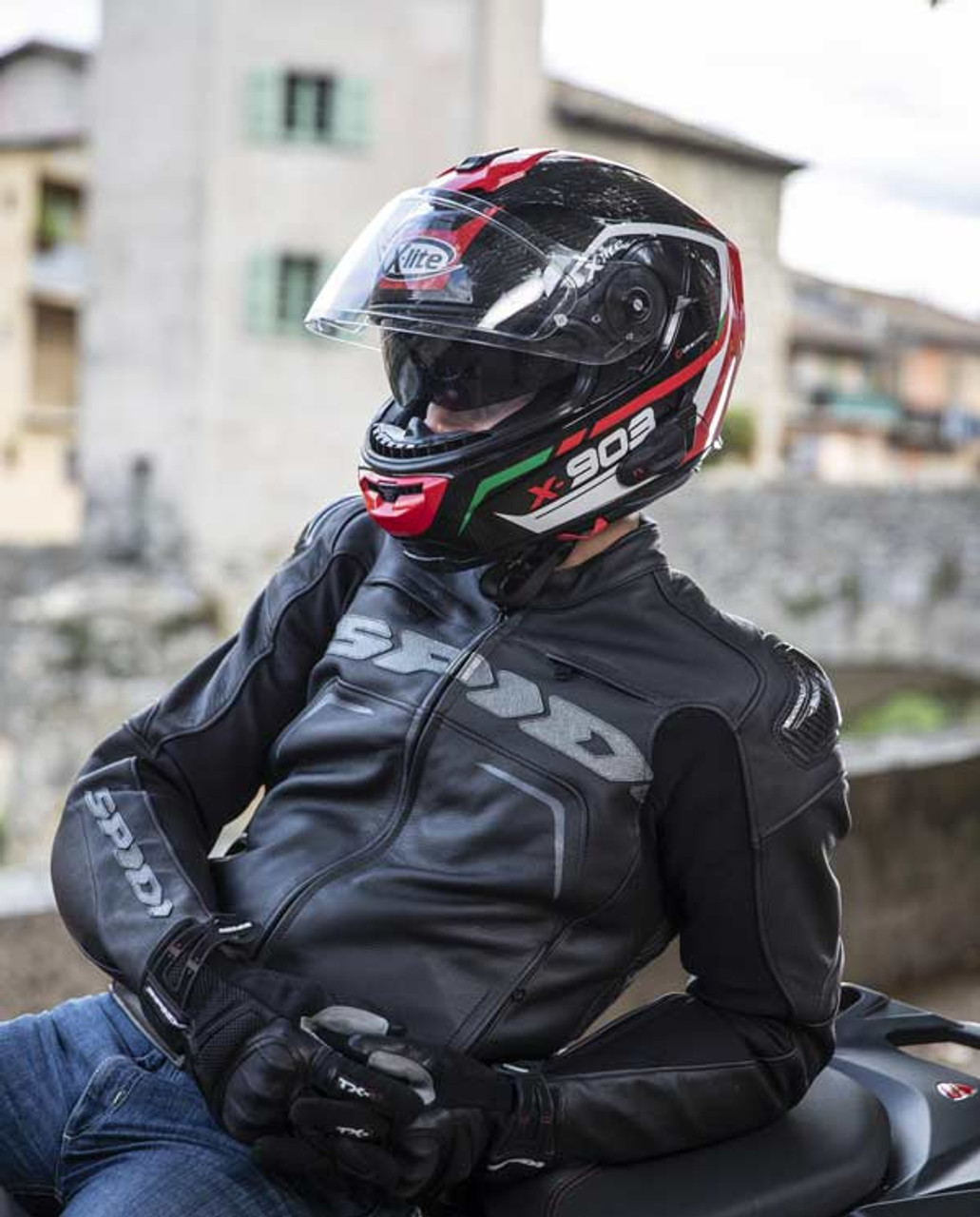 X-Lite X903 (by Nolan Helmets Italy) Ultra Carbon Full Face Motorcycle Helmet - Tri Colour: Carbon / Red / White