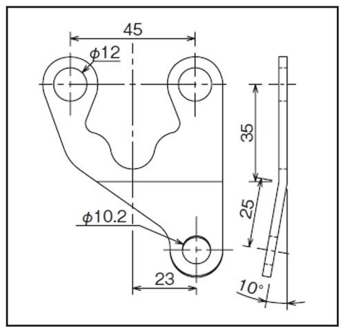 Meter Bracket, L-Offset, Universal, Velona,  10 Degree Bent