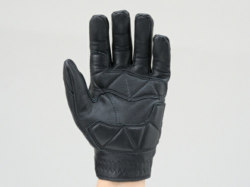 Henly Begins Goat Skin Motorcycle Gloves Punch Mesh Protection Type, Black