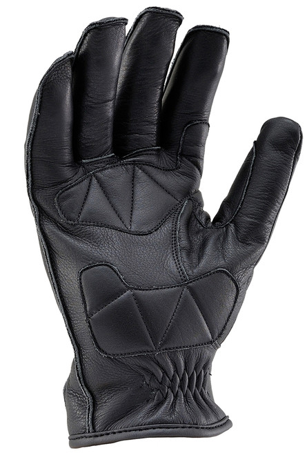 Henly Begins HBG-023 Cowhide, Outer Stitch Short Motorcycle Gloves, Black
