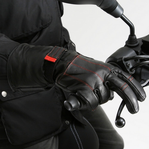 Henly Begins DH-614 Long Leather Motorcycle Gloves, Black/Red