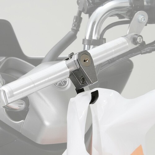 Helmet Lock with Hook, Silver, Yamaha MAJESTY S