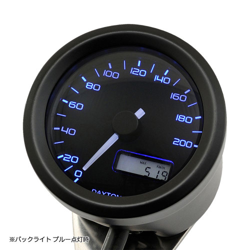 Velona 48 Speedometer, 48mm, 200kph, Black, 3-Color LED