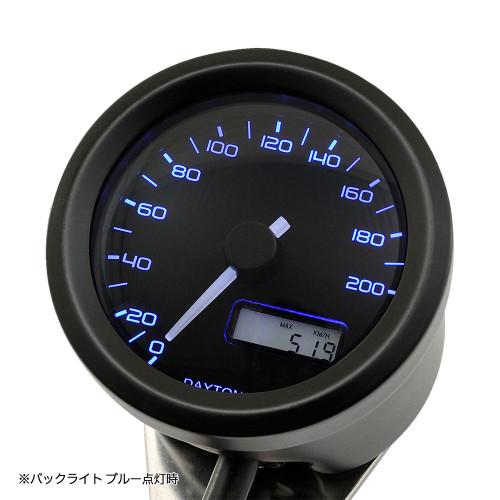 Daytona Velona48 Speedometer, 48mm, 200 Km/h, Black, 3-Colors LED