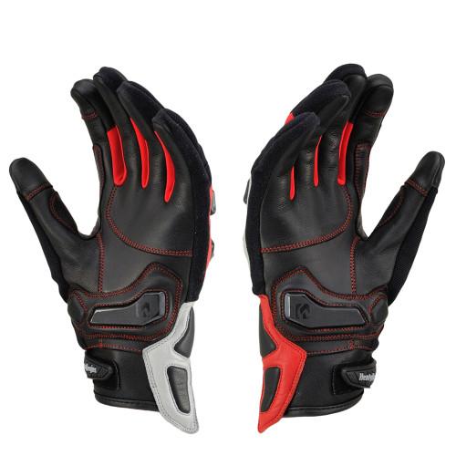 Henly Begins Carbon Protector Motorcycle Gloves All Season, Asymmetric Silver