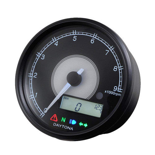 Daytona Velona Tachometer & Speedometer, 80mm, 9000rpm, Black with White LED