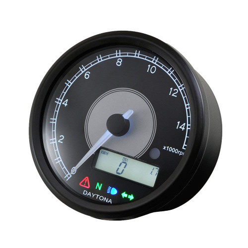 Daytona Velona Tachometer & Speedometer, 80mm, 15000rpm, Black with White LED