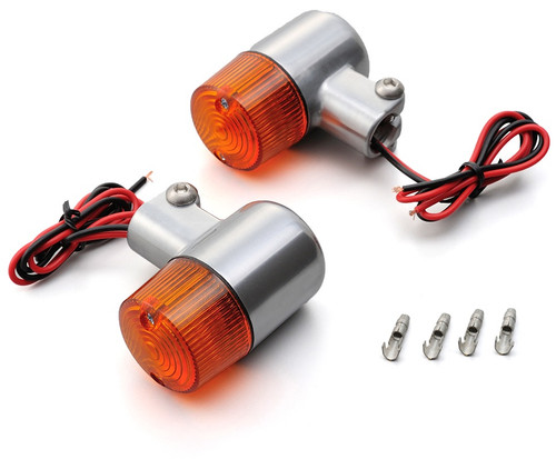 Daytona (Japan) Motorcycle Turn Signal, Small Blinker Set, Silver