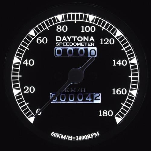 Daytona (Japan) LED Vintage Speedometer, 180kmh, Black - SOLD OUT & Discontinued