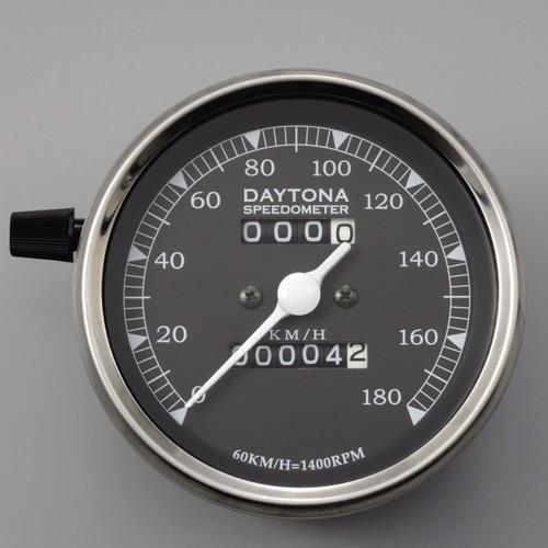 LED Vintage Speedometer, 180kmh, Black