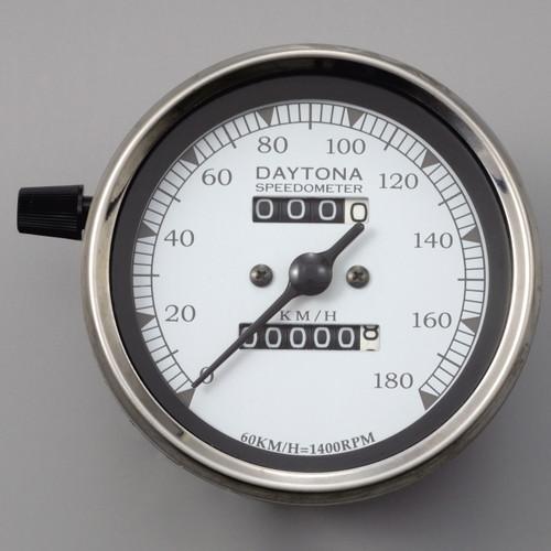 LED Vintage Speedometer, 180kmh, White