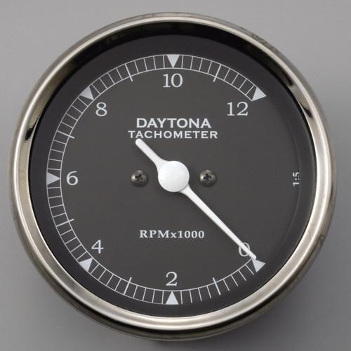 LED Vintage Tachometer, 12000rpm, Black