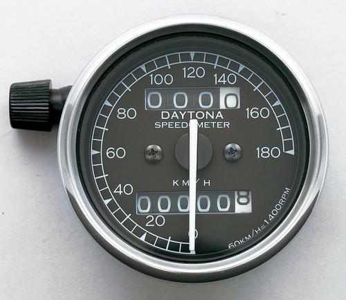 Speedometer, 180kmh, Black, White LED