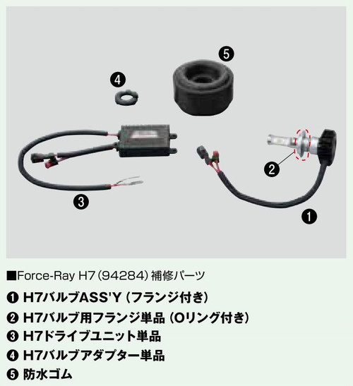 Force Ray H7 Lamp Assembly with Connector