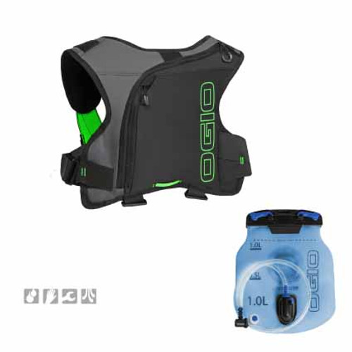 Ogio Erzberg 1L Hydration Pack, in Black colourway, comes with a 1L bladder