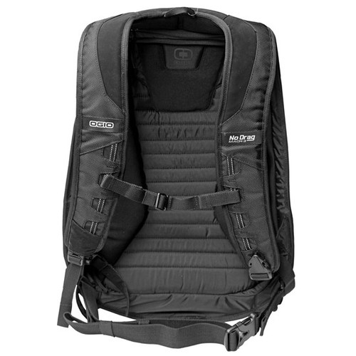 Ogio Mach 3 Motorcycle Backpack with No Drag Technology has ergonomic, padded and fully adjustable riding specific shoulder straps with quick release exit buckle