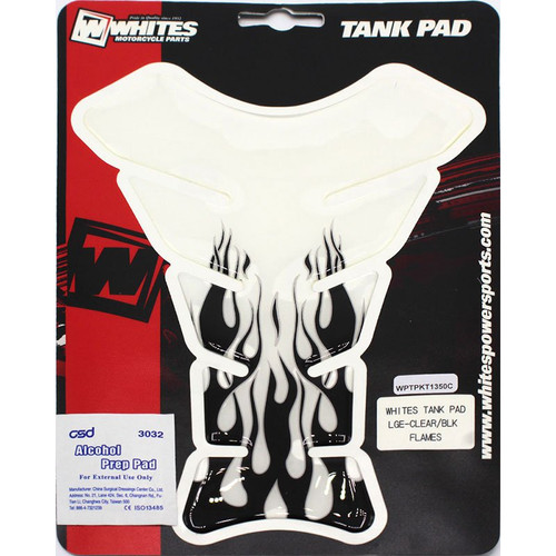 Whites Tank Pad Clear with black flames