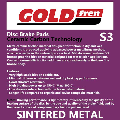 Goldfren Sintered Sports Brake Pads (PH381) #242/S3, Honda CBR1000RR (Rear Pads)