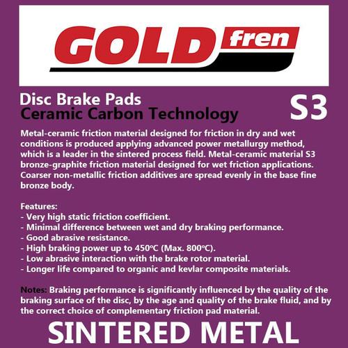 Goldfren Sintered Sports Brake Pads (PH381) #242/S3, Honda CBR1000RR (Rear Pads)