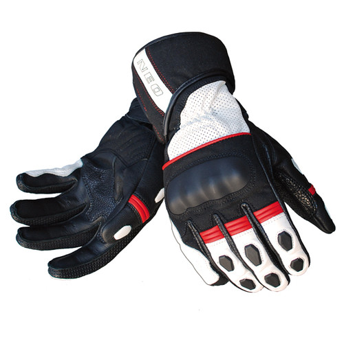 NEO RX1 Motorcycle Gloves - Leather Sport, Knuckle Armour, Cowhide / Goatskin Leather, Black and Red