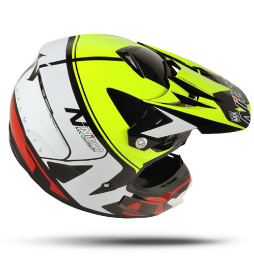 Nitro MX600 Holeshot Helmet, Black/Yellow/Red - CLOSEOUT SALE