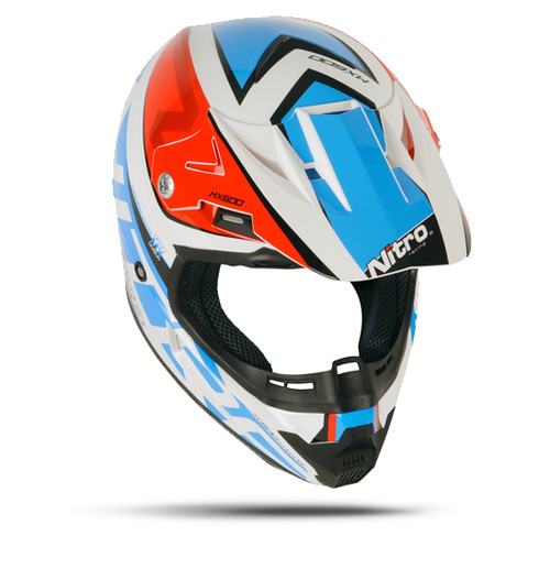 Nitro MX600 Holeshot Helmet, White/Red/Blue - CLOSEOUT SALE