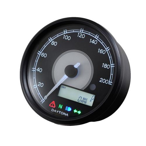 Daytona Velona80 Speedometer & Tachometer, 80mm, 200 kmh, Black, White LED
