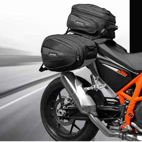 Ogio Saddle Bags (sold in pairs) and Tail Bag (sold individually) together make a complete rear bag bike set