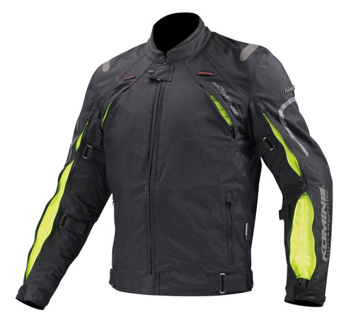 Komine JK-108 Airflow System Vented Motorcycle Jacket, Whey, Reflective, Black/Neon LAST ONE Medium! FREE Shipping NZ Nationwide