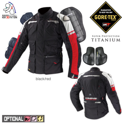 Komine JK-578 GTX Tourer Winter Titanium Motorcycle Jacket, GORE-TEX, Black/Red