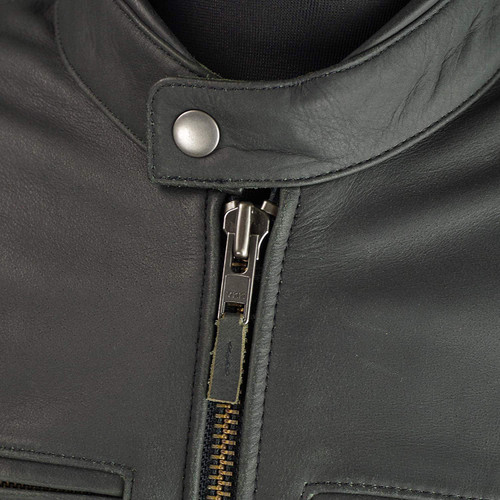 Komine LJ-534 Single Rider Leather Motorcycle Jacket, Black