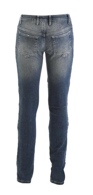 PMJ Ladies Motorcycle Denim Jeans Florida, Woman, Italy, TWARON® Ballistic Fabric, Slim Fit, Mid Blue