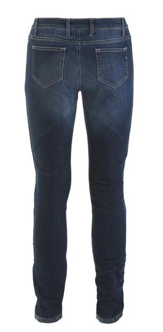 PMJ Ladies Motorcycle Denim Jeans Rider, Woman, Italy, TWARON® Ballistic Fabric, Abrasion Resistant, Stone Washed Slim Fit, Dark Blue