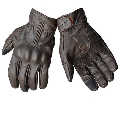 Noble Motorcycle Glove - Leather Classic, Hard knuckle Armour - NEW, Dark Brown