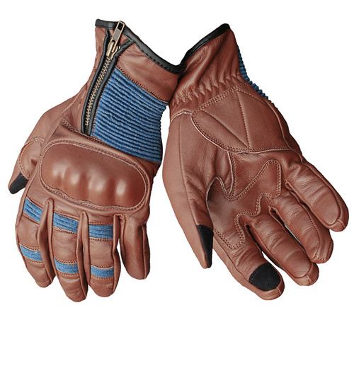 Valiant Motorcycle Glove - Leather Classic, Hard knuckle Armour - NEW, Vintage Brown