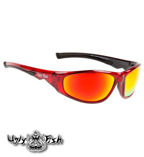 Ugly Fish Riderz RS2044 Torpedo Safety Eyewear, Motorcycle Glasses, Red Frame with Red Lens